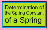 Determination of the Spring Constant of a Spring