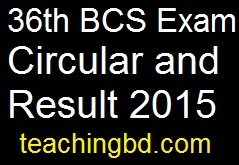 36th BCS Exam Circular and Result 2015 1