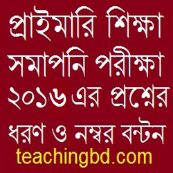 Primary Education Completion Examination 2016 Question Pattern and Mark Distribution 8