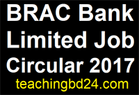 BRAC Bank Limited Job Circular 2017 2