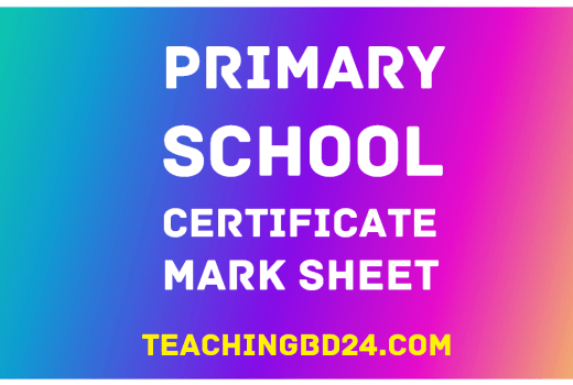 Primary School Certificate Mark Sheet 2019 2