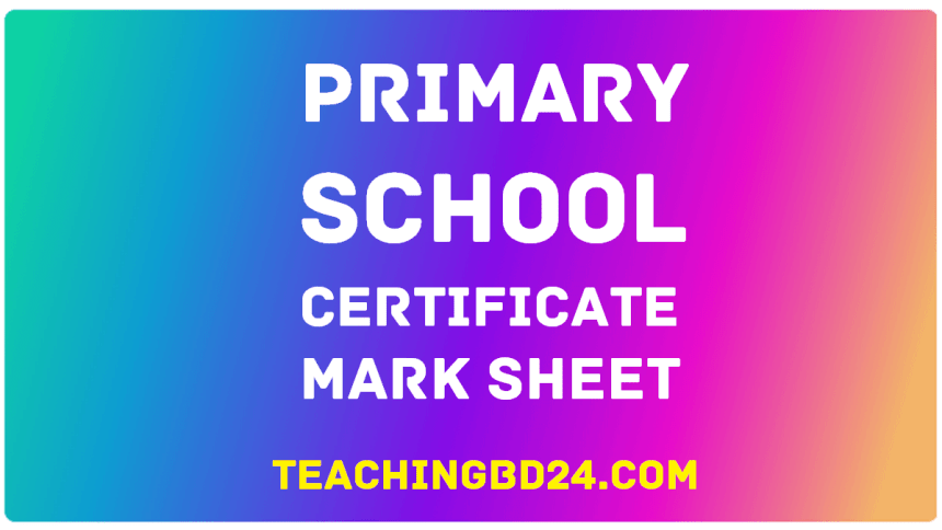 Primary School Certificate Mark Sheet 2019