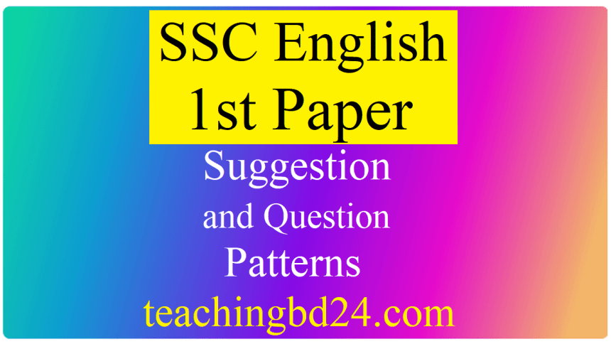 SSC English 1st Paper Suggestion Question 2020-7