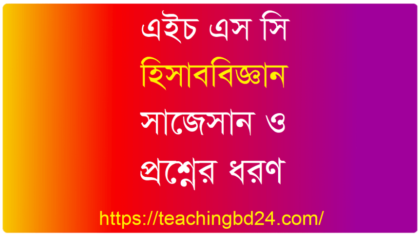HSC Accounting 2nd Paper Suggestion and Question Patterns 2020-2