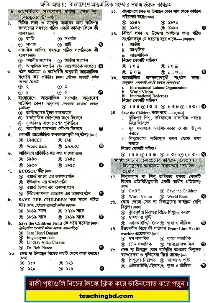 Community development activities of international organizations in Bangladesh: HSC Social Work 2nd