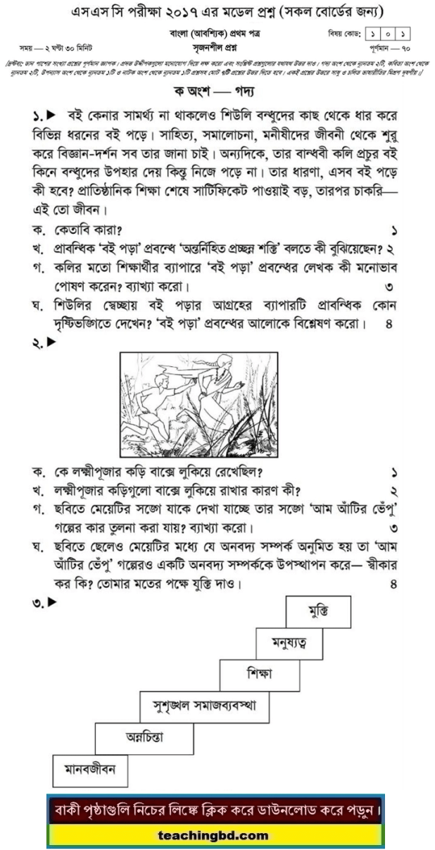 Bengali 1st Paper Suggestion and Question Patterns of SSC Examination 2017-12