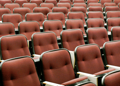 Imagine these empty seats all filled to capacity! Large classes are a challenge and an opportunity.