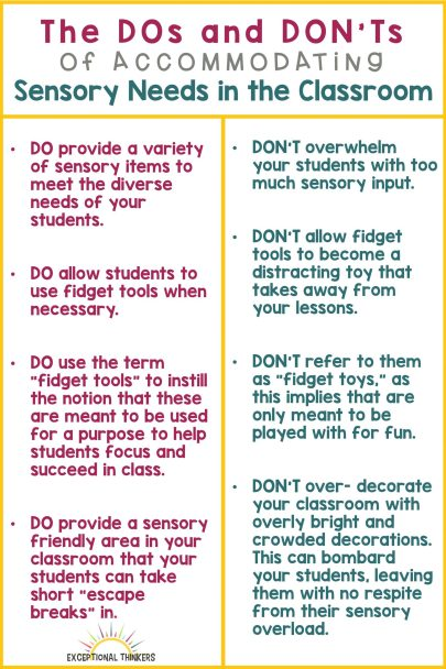DOs and DONTs of Accommodating sensory needs in the classroom