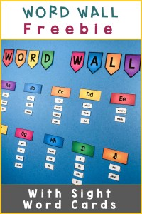 Free word wall bulletin board: Colorful headers with sight word cards on blue background