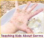 Child's hand covered in glitter with the text Teaching Kids About Germs