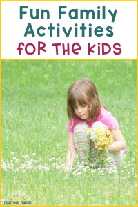 Young girl picking dandelions with text Fun Activities for the Kids