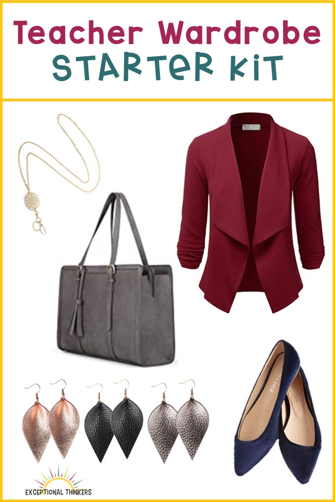 "Yellow outline with purple and teal text that reads ""teacher wardrobe starter kit."" The image contains teacher clothes including an ID lanyard, a burgundy blazer, a grey tote bag, two pairs of flats, and leather earrings"