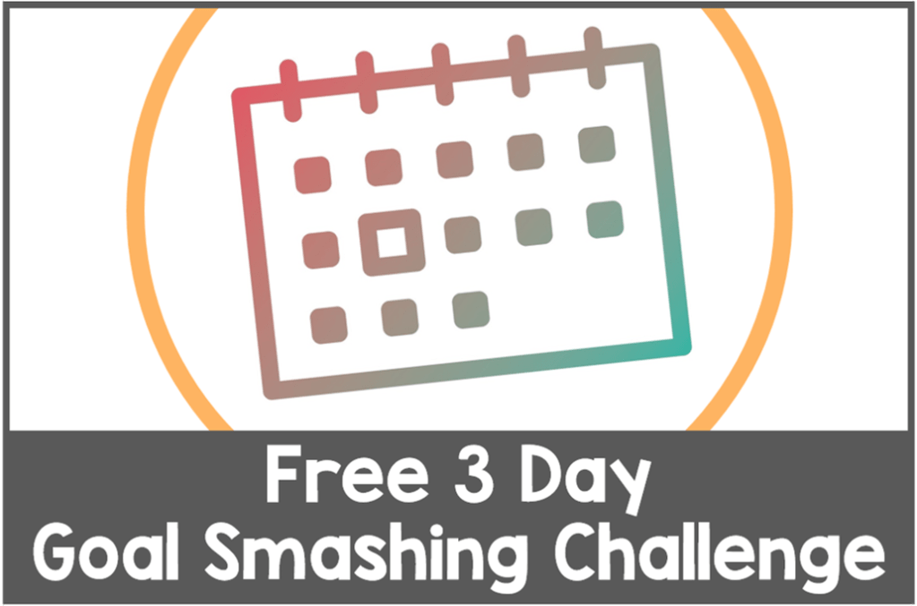 """Line image of calendar inside a yellow cropped circle with white text against grey background that reads """"Free 3 Day Goal Smashing Challenge"""""""