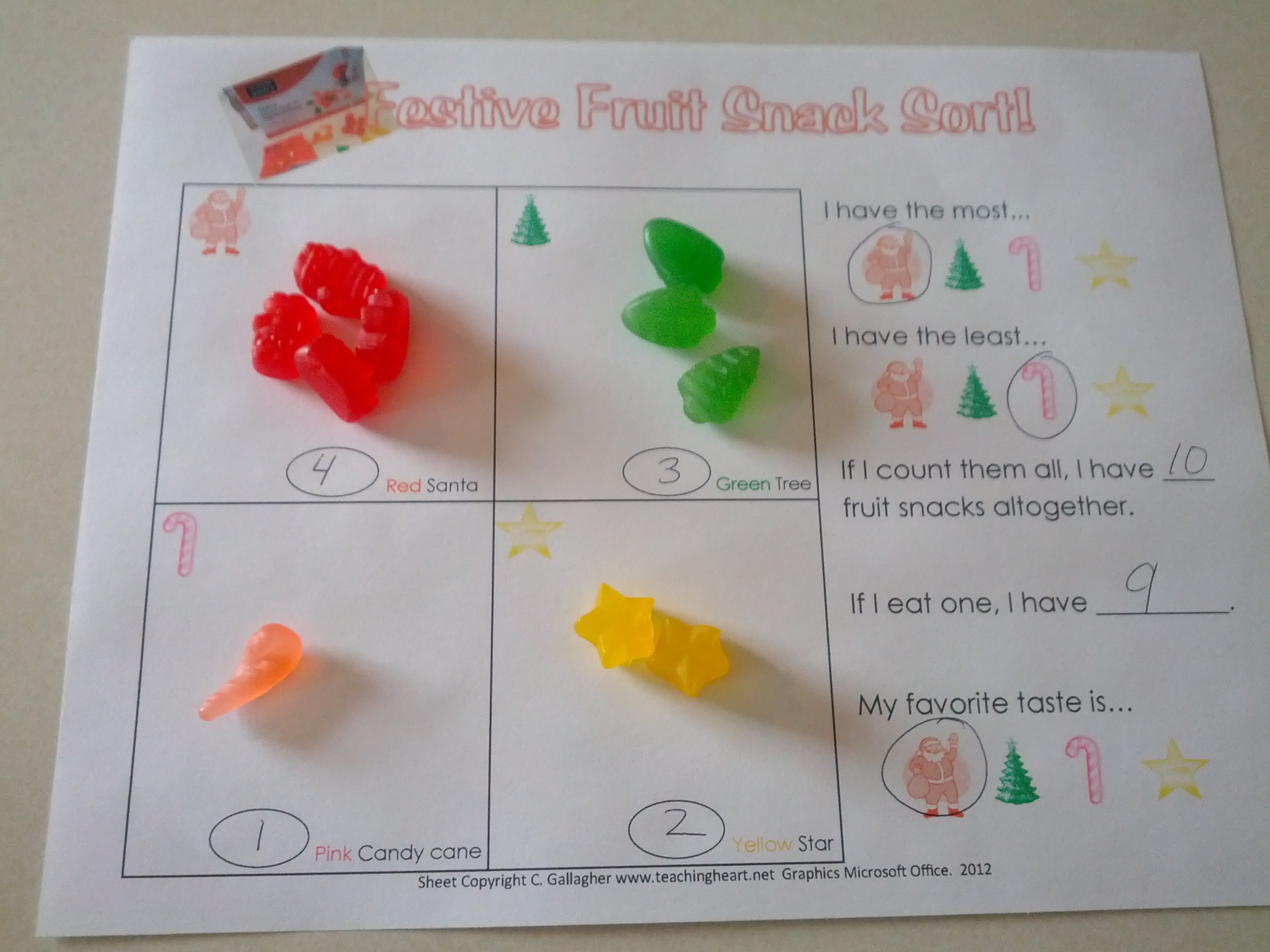 Festive Fruit Snacks Sorting And Graphing