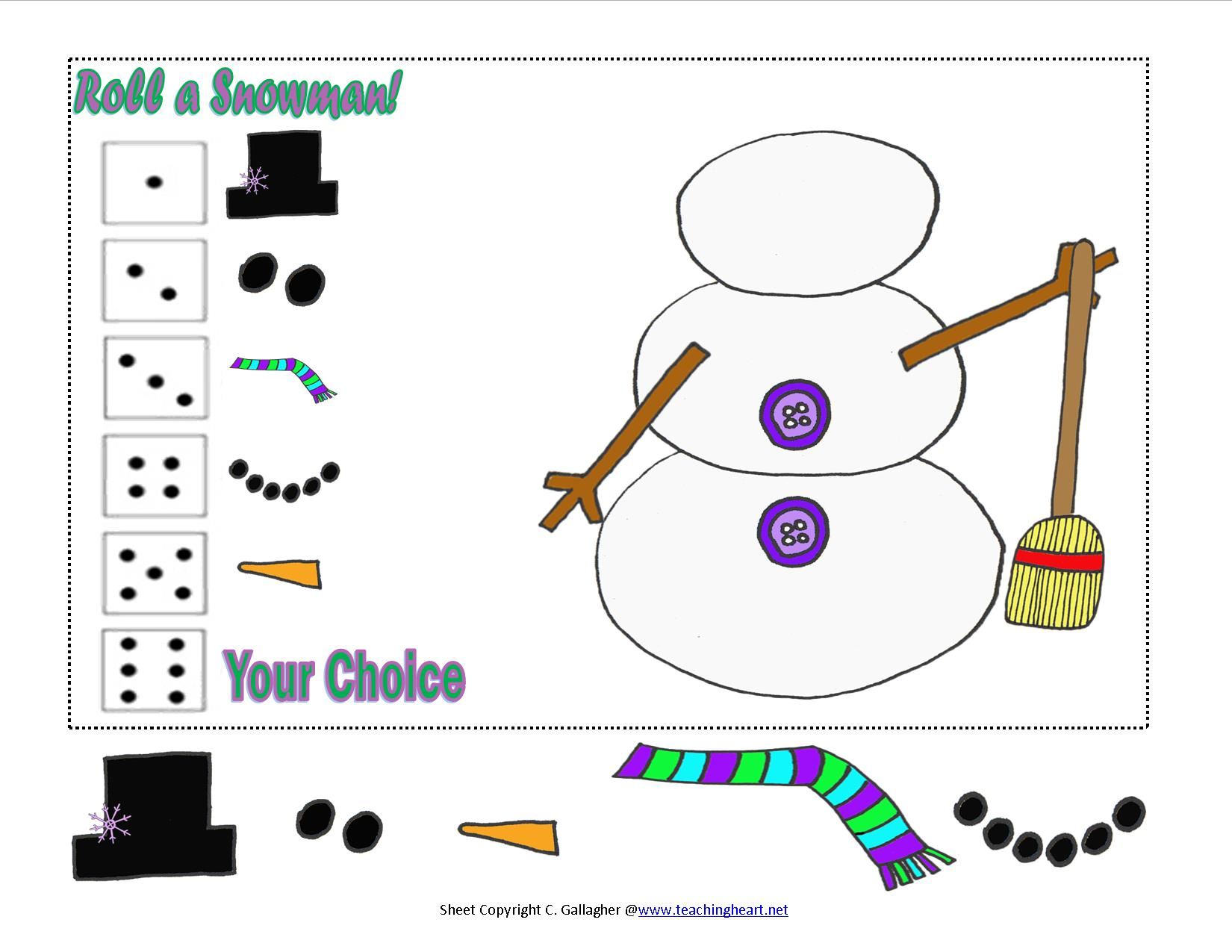 Roll A Snowman And New Snowman Packet Teaching Heart Blog