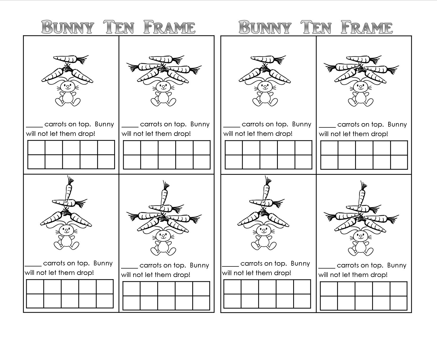 Bunny Time Ten Frame Free Printables Teaching Heart Blog