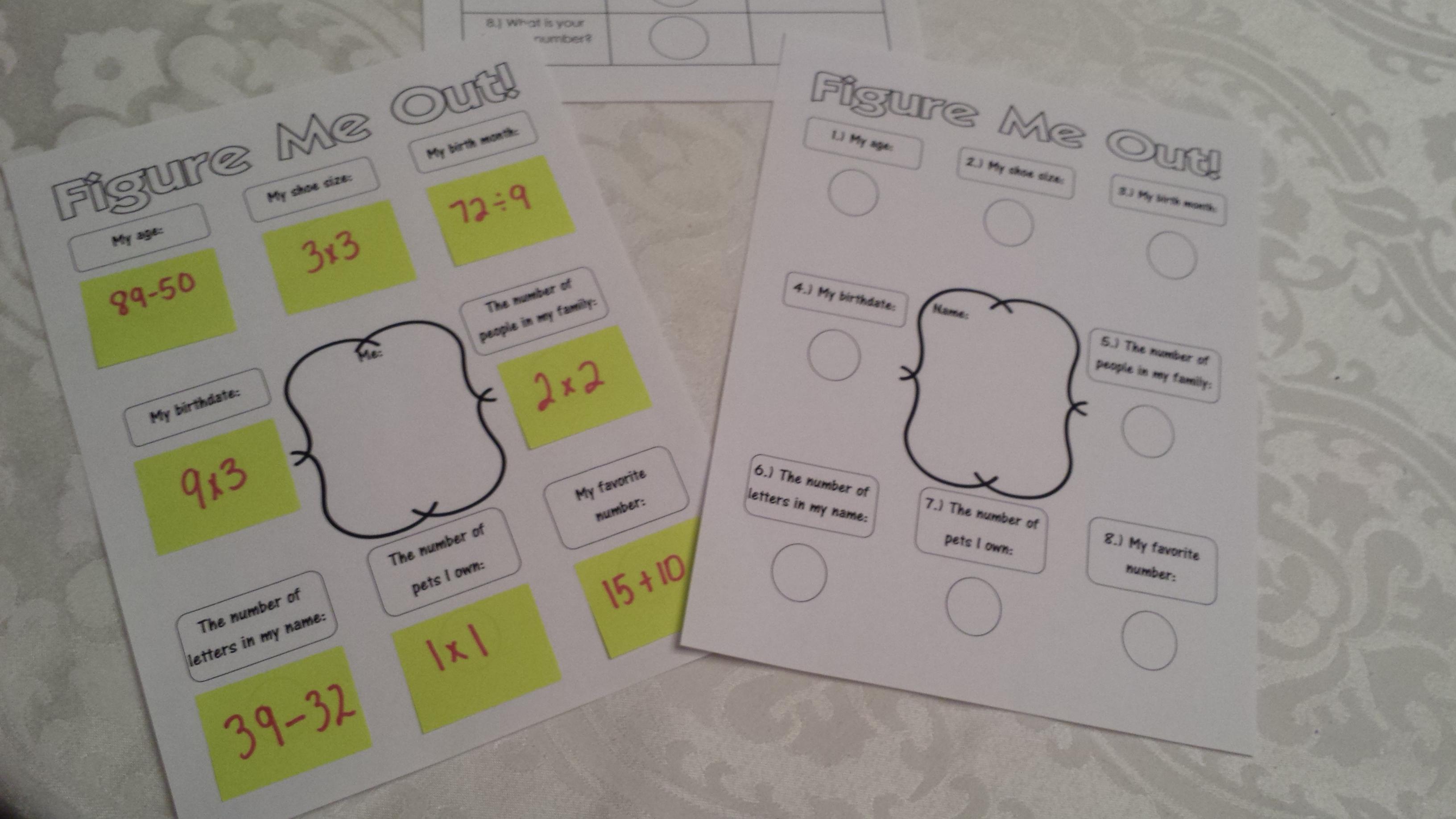 Figure Me Out Math Activity Teaching Heart Blog