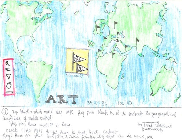 Hand-drawn world map depicting Jenny and Katy's ideas for ARTmap