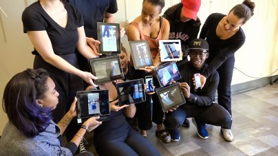Students in Dr. Salzar's class showing the iPad video installation