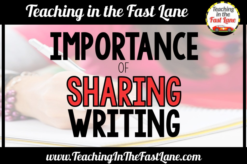 Students need to know their writing will be read by others. The importance of sharing writing in the classroom gives students purpose while writing and an authentic audience. Check out this post for ideas on how to share writing with meaning. #TeachingInTheFastLane #SharingWritingInTheClassroom