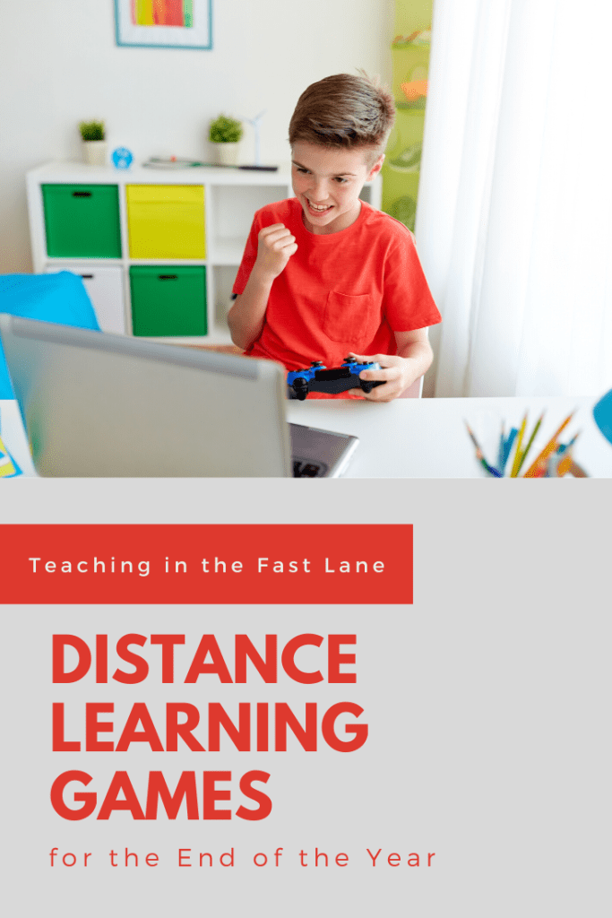 "Photo of excited boy in red shirt fist pumping while looking at laptop with title ""Distance Learning Games for the End of the Year."""
