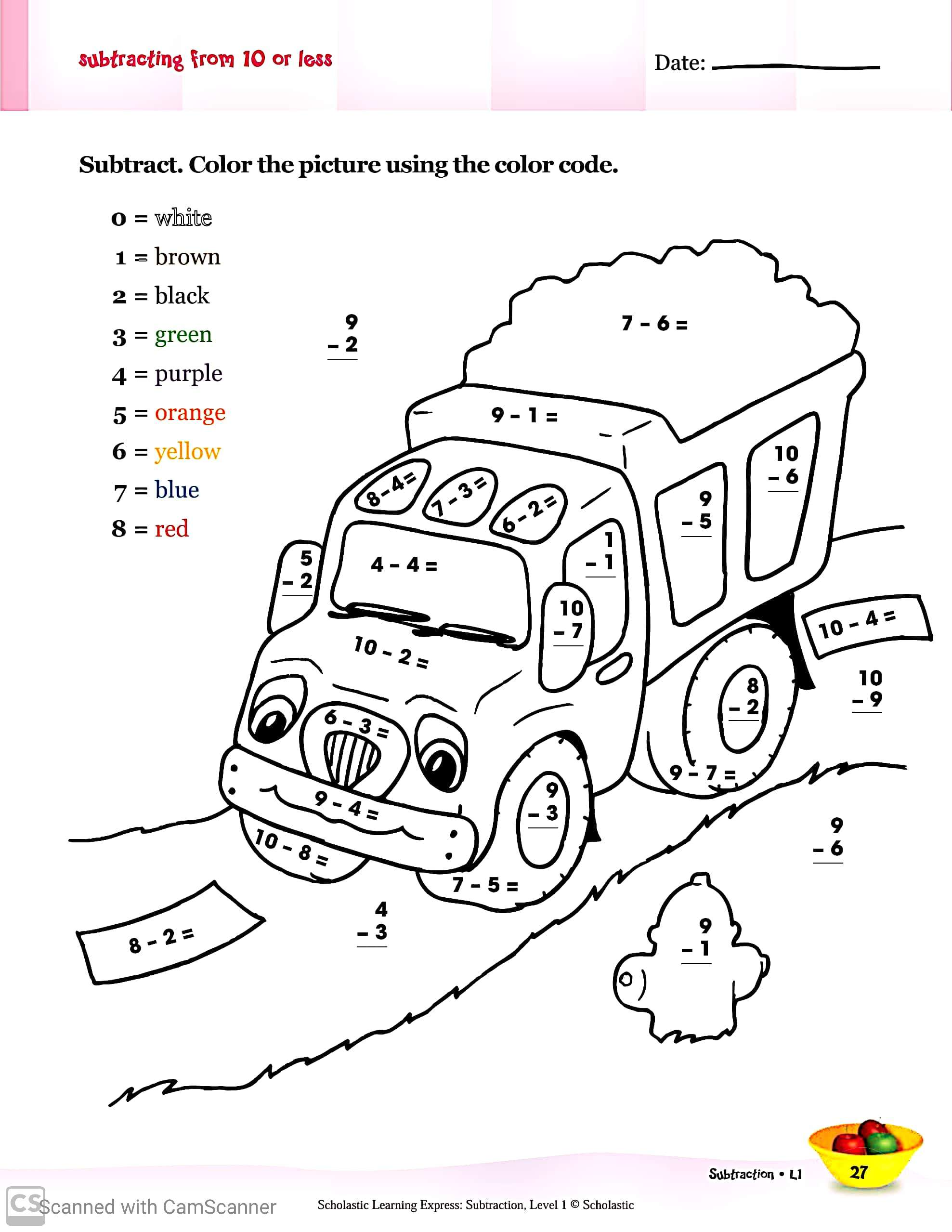 Learning Substraction For Grade 1 Worksheets Teaching