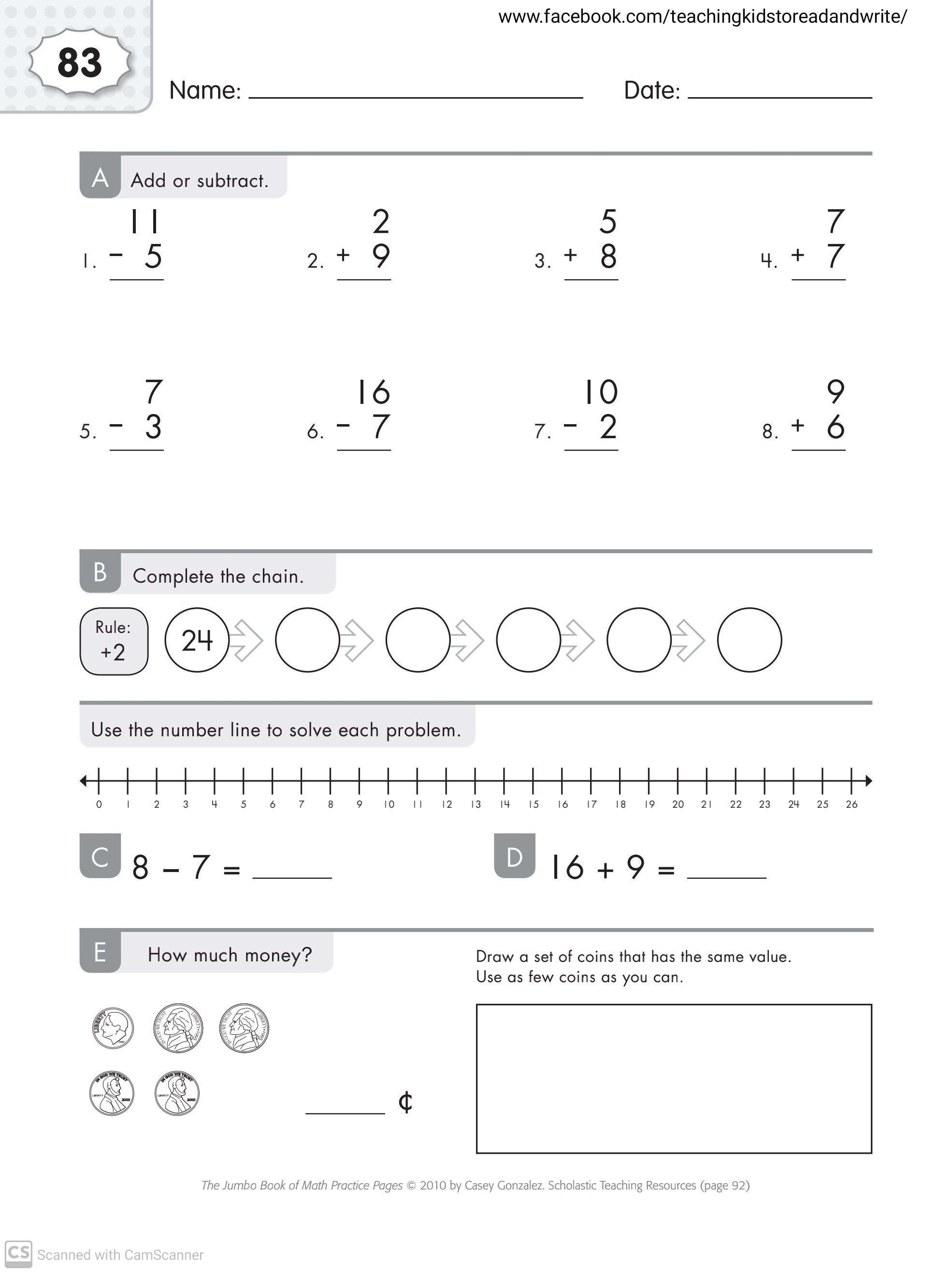 Maths Worksheets For Grade 1 Part 3 Teaching Kids To