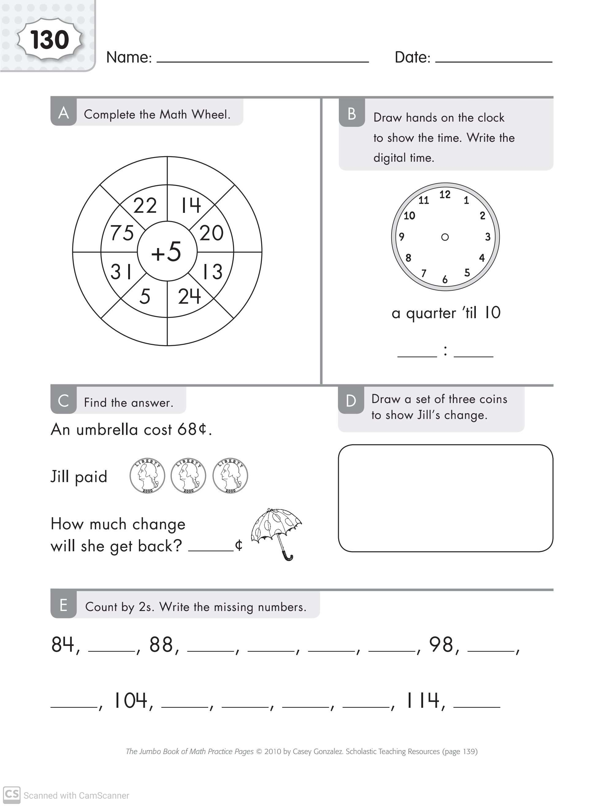 Maths Worksheets For Grade 1 With Answers Part 4