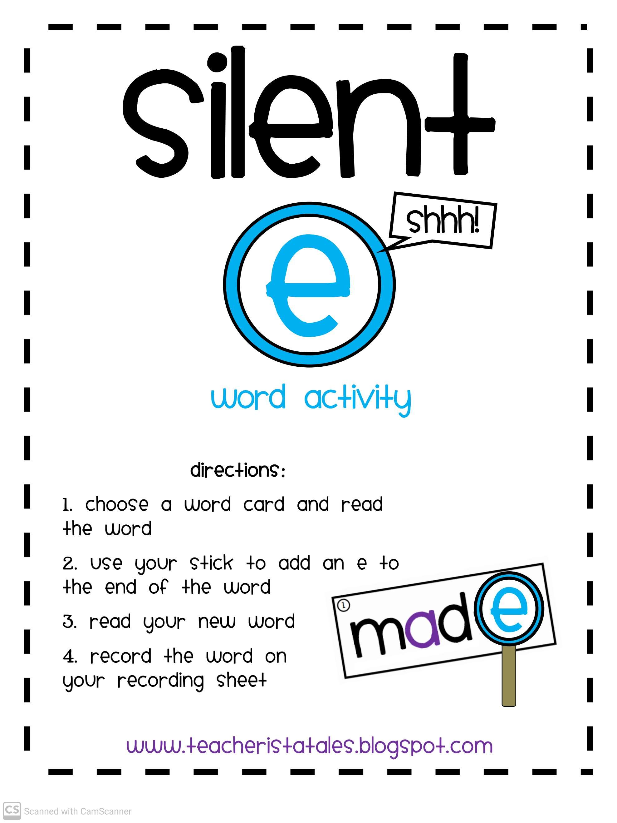 Silent E Word Activities Teaching Kids To Read And Write