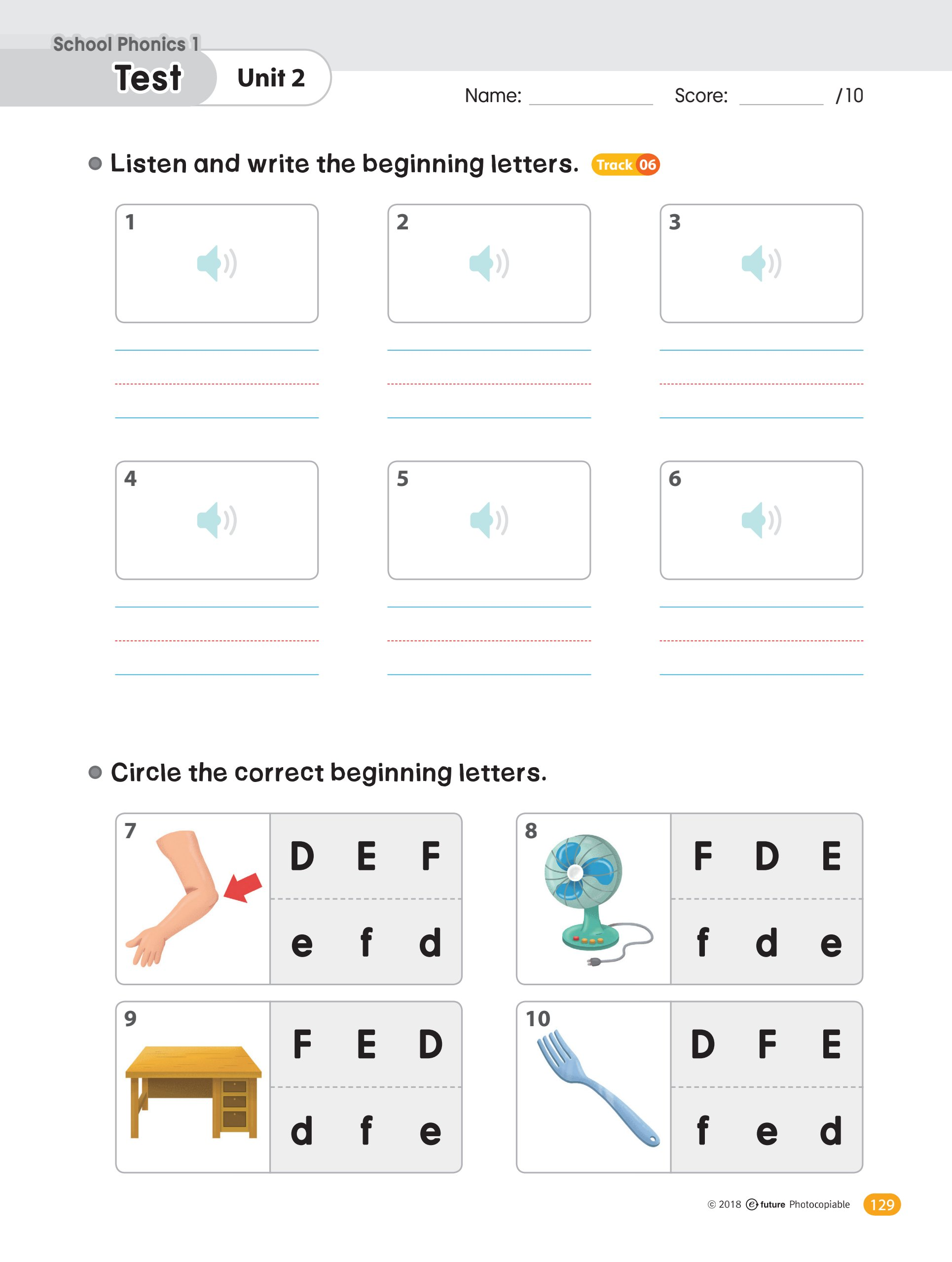 Phonics Practice Worksheets With Audio Test 1 Teaching