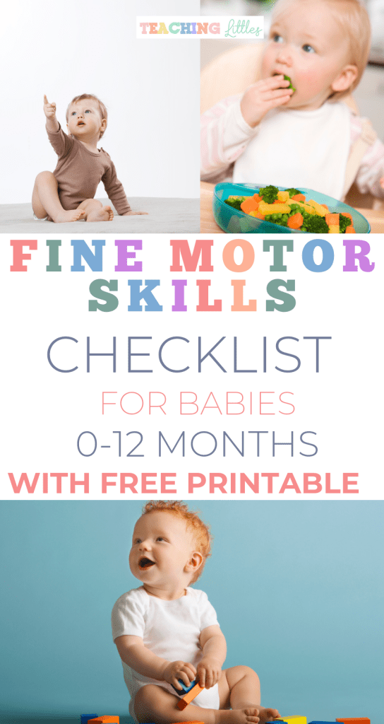 Do you ever wonder what fine motor skills your baby should be able to do? Use this checklist and free printable as a guideline to track your baby's development!