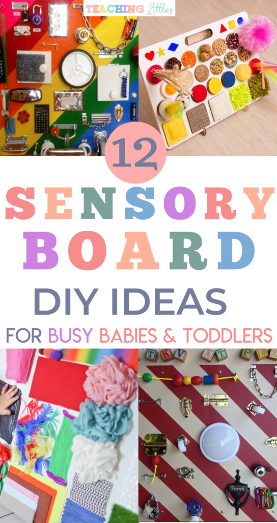 DIY Sensory board ideas to encourage your busy babies and toddlers to explore new textures, objects, and incorporate fine motor skills. Use common household objects or craft supplies from a local home improvement, craft, or dollar store for sensory play.