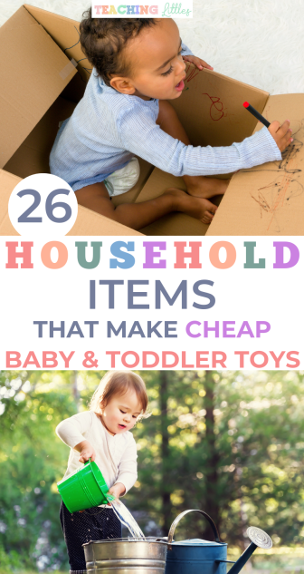 Household items are the easiest and simplest way to keep your baby or toddler entertained for hours. No need for fancy toys with these household activities.