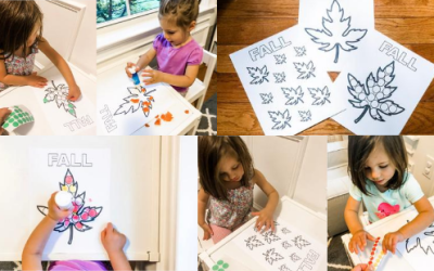 Fall Leaf Fine Motor and Coloring Printable​ Activity for Toddlers