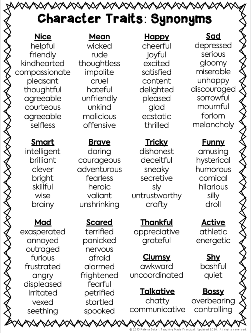 small resolution of Developing Character Trait Vocabulary - Teaching Made Practical