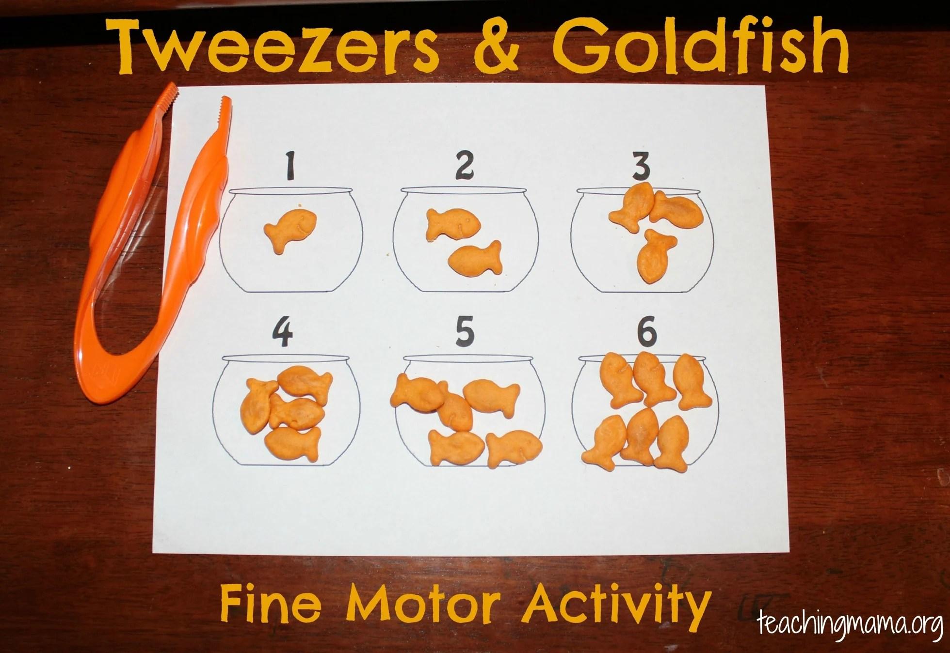 Fine Motor Skills Tweezers Amp Goldfish