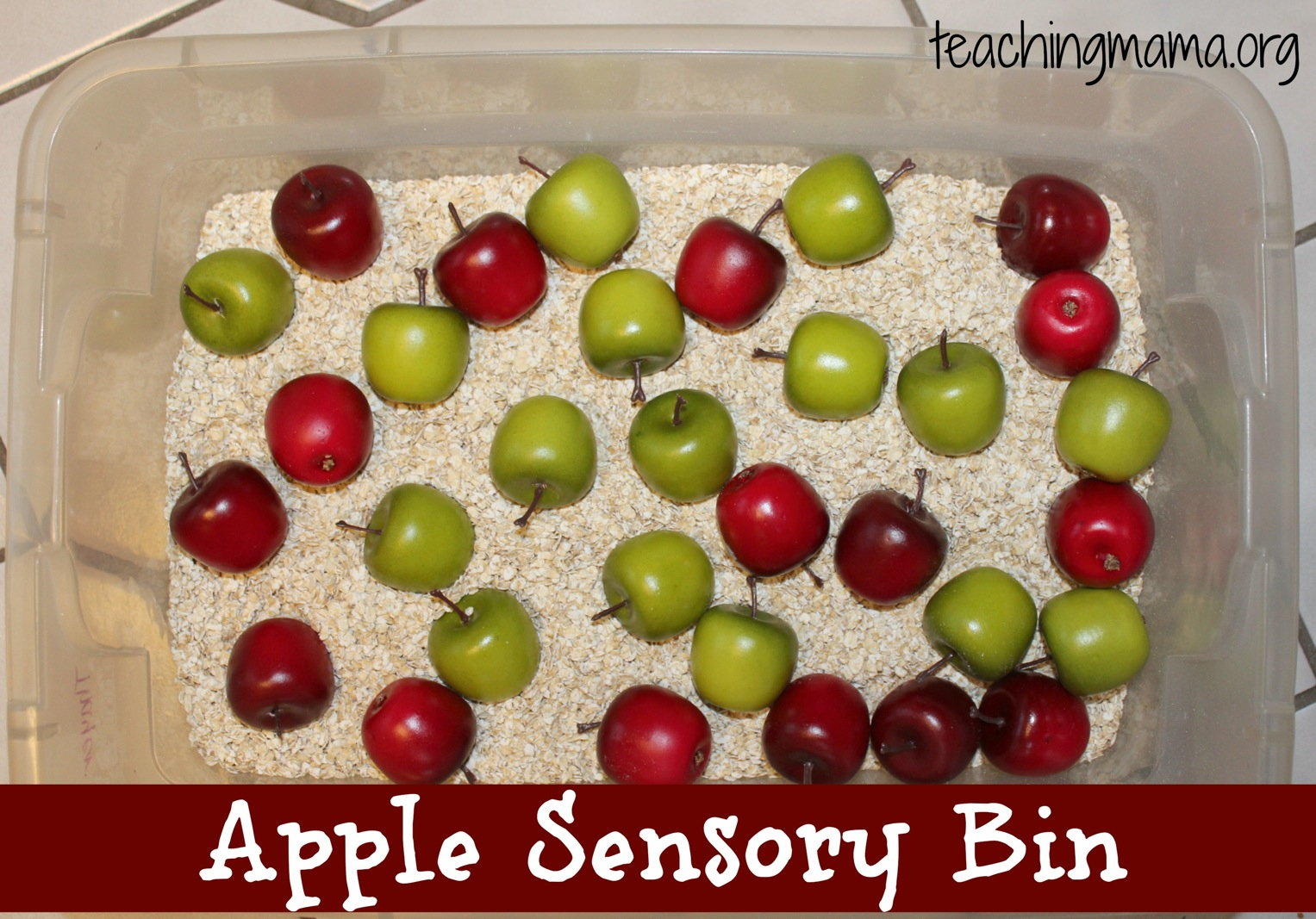 Apple Sensory Bin With Free Printable