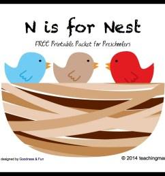 n is for nest letter n printables [ 1161 x 908 Pixel ]