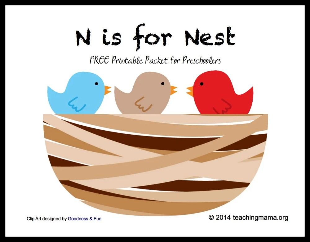 medium resolution of n is for nest letter n printables