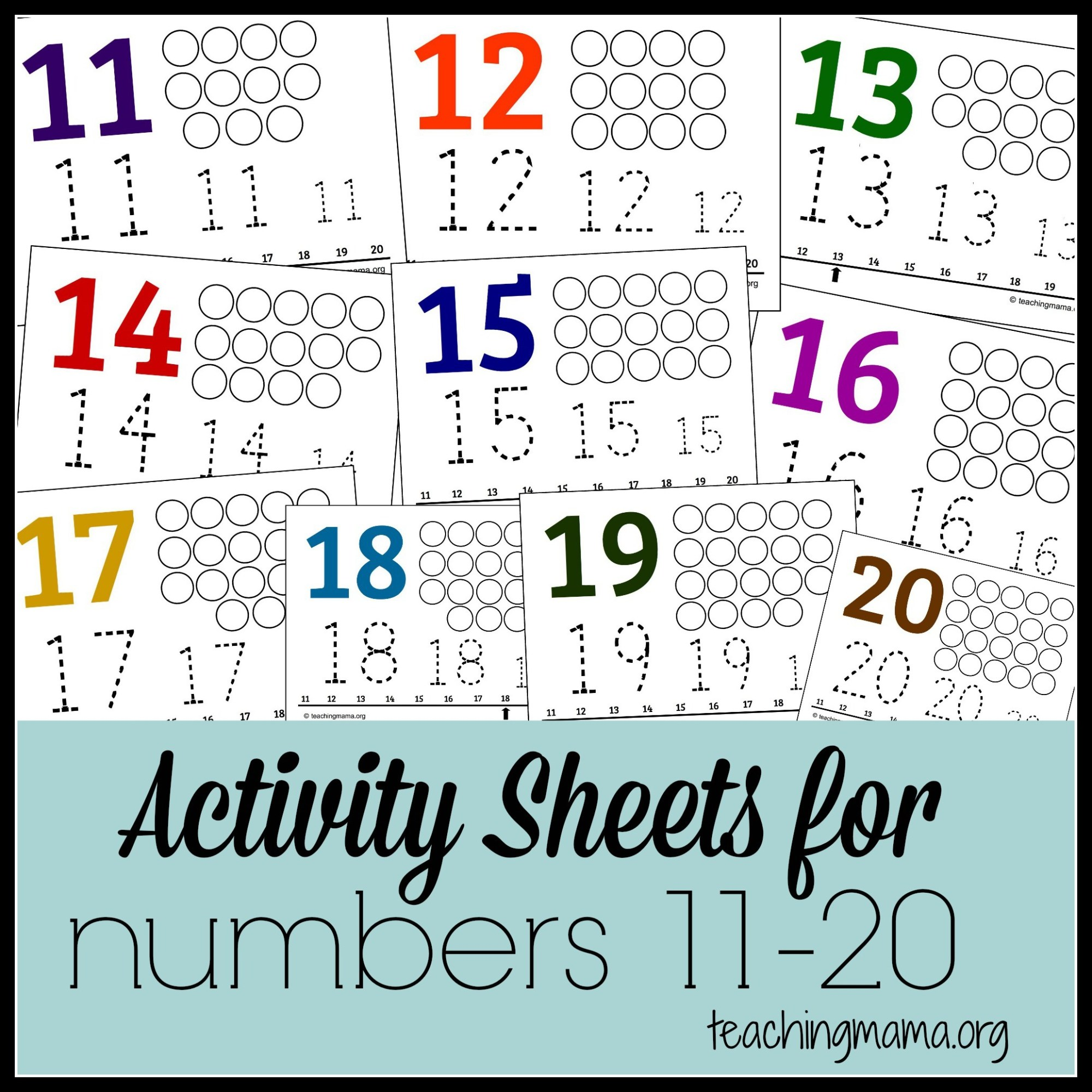 hight resolution of Activities for Numbers 11-20