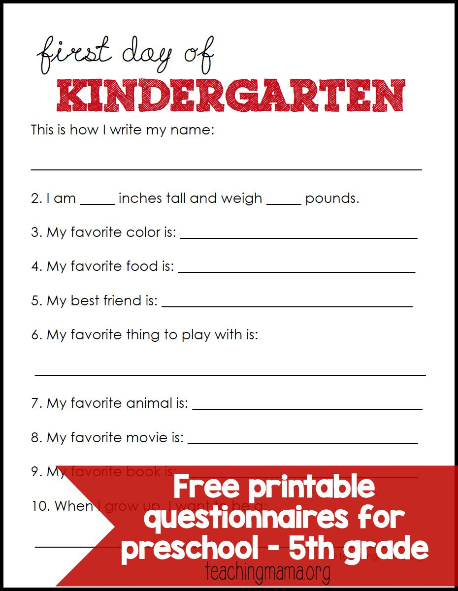 hight resolution of First Day of School Questionnaires