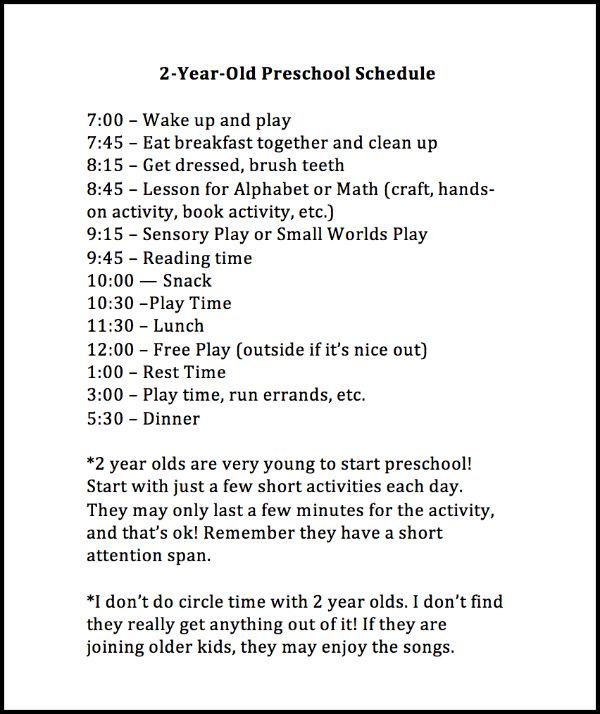 Immersion preschool daily schedule in pdf. Weekly Preschool Planner
