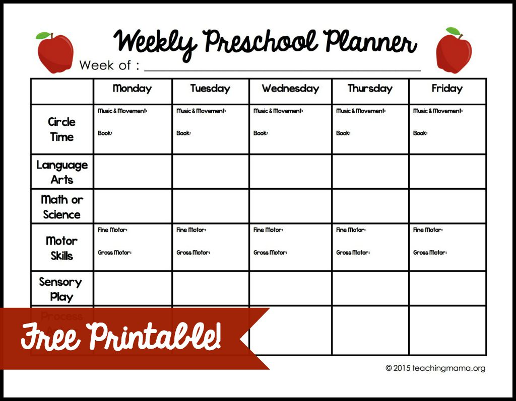 Weekly Preschool Lesson Plan Template Lessons Worksheets