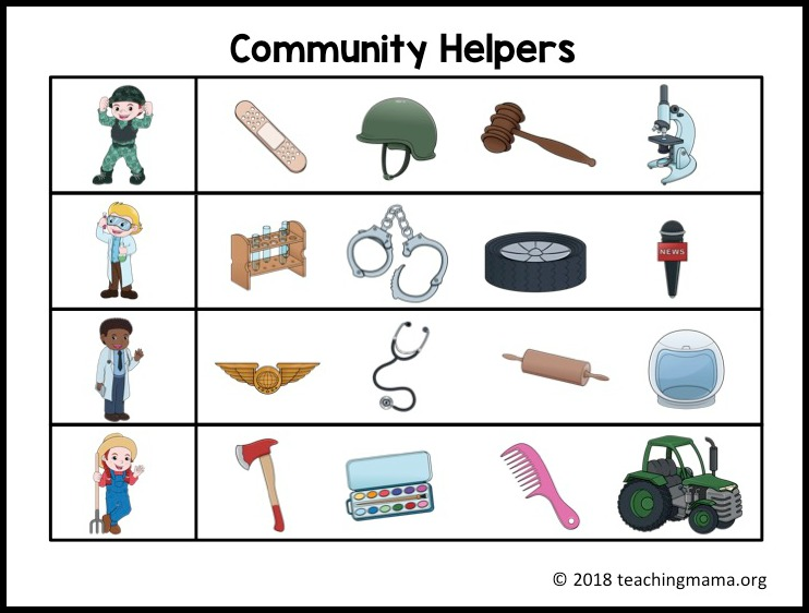 Community Helpers Clip Cards Teaching Mama