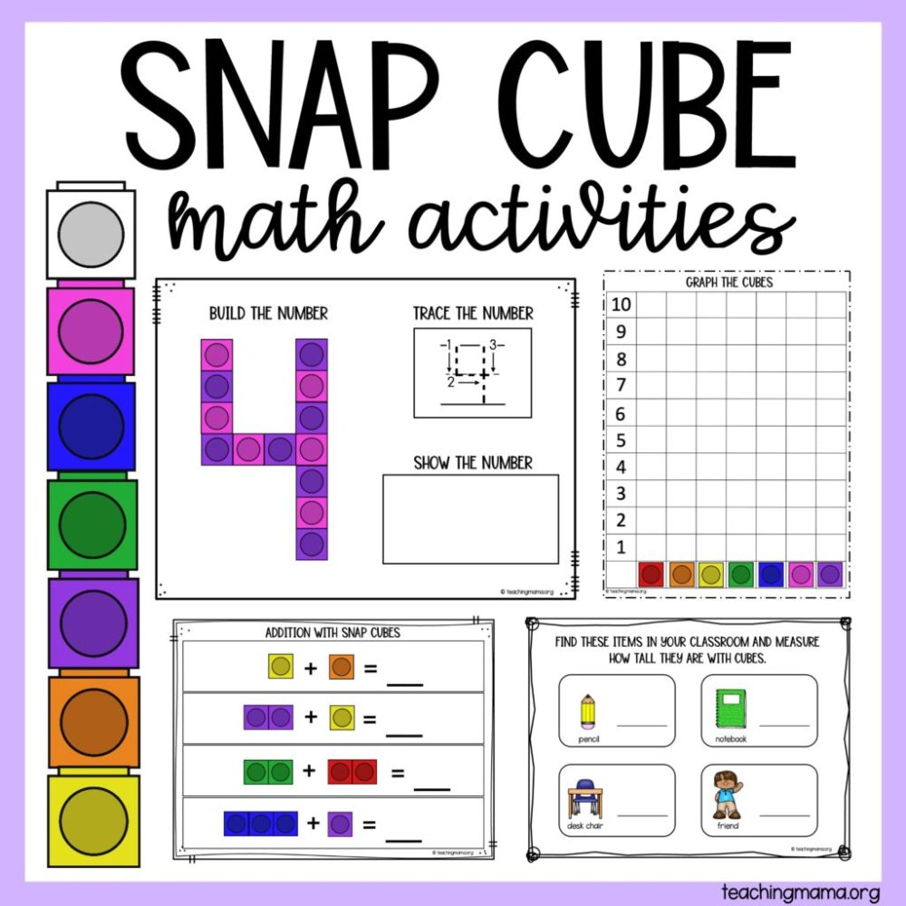 medium resolution of Snap Cube Number Sheets - Teaching Mama