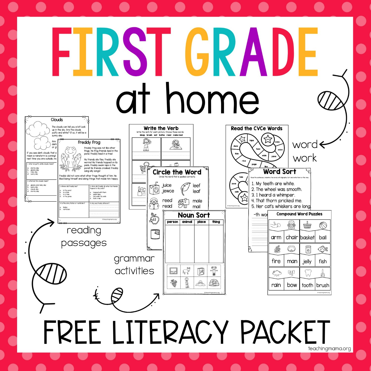 First Grade At Home Literacy Packet