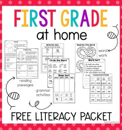 First Grade At Home Literacy Packet - Teaching Mama [ 1500 x 1500 Pixel ]