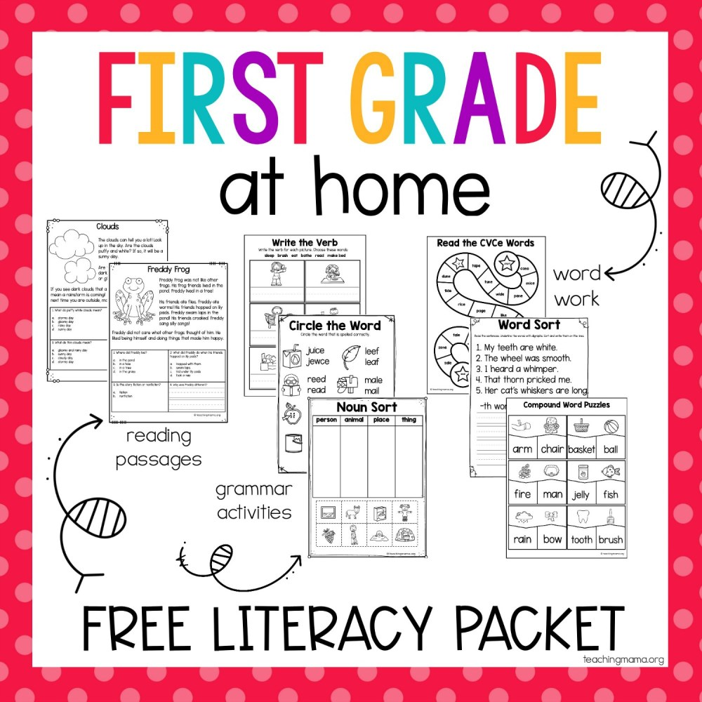 medium resolution of First Grade At Home Literacy Packet - Teaching Mama