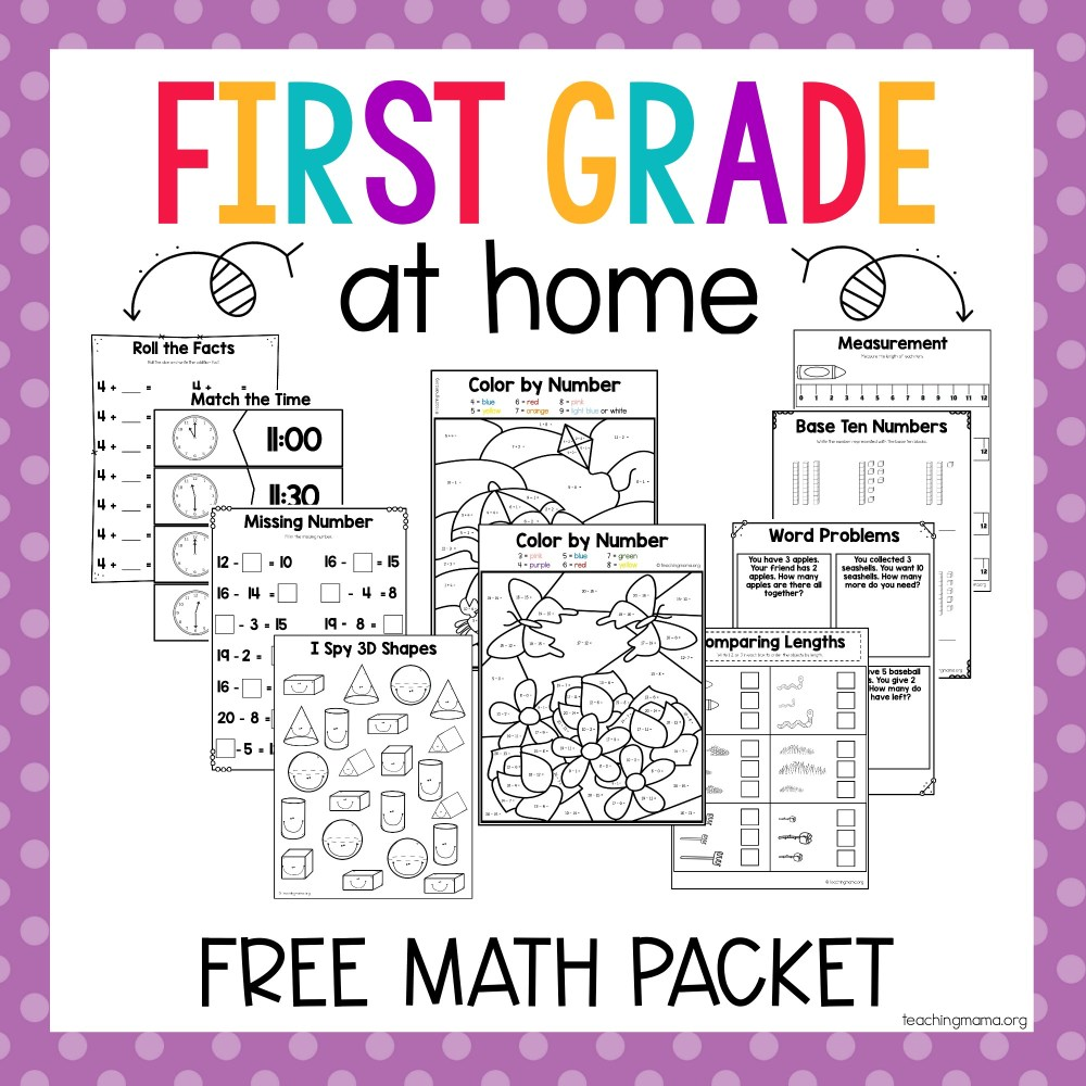 medium resolution of First Grade At Home Math Packet - Teaching Mama
