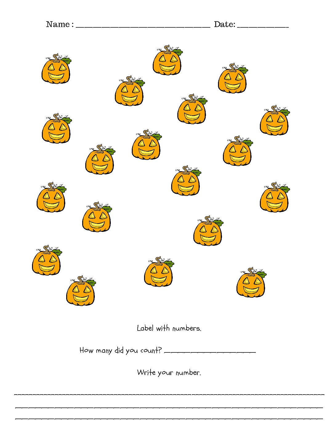 Kindergarten Halloween Counting Charts Teachingonemoore